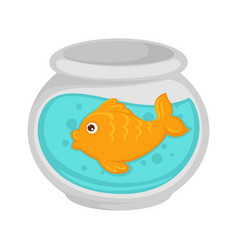 fish in aquarium cartoon pet flat icon vector image vector image