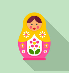 floral nesting doll icon flat style vector image
