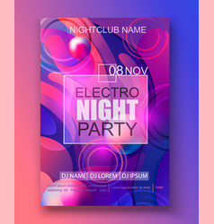 flyer or banner to electro night party vector image