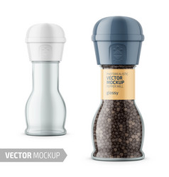 glass pepper mill with label and sample design vector image