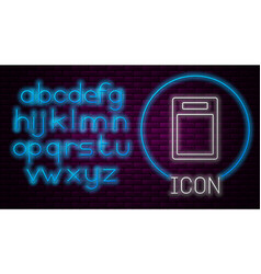 Glowing neon line cutting board icon isolated vector
