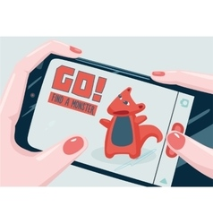 Go Find a monster with phone Mobile game vector