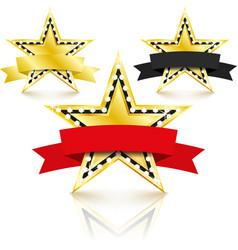golden stars set with diamonds set on white vector image
