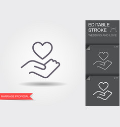 hand holding heart symbol line icon with shadow vector image