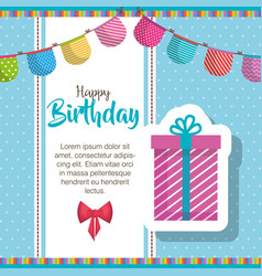 Happy birthday gift and garlands celebration card vector
