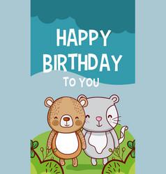 happy birthday to you bear and cat cartoon vector image