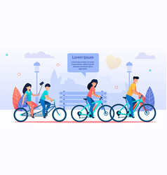 happy family cycling together in city park cartoon vector image