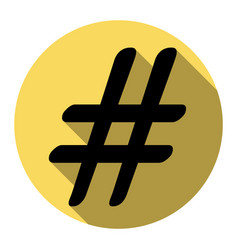 hashtag sign flat black icon vector image vector image