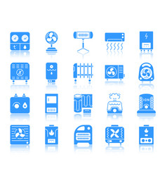 hvac color silhouette icons set vector image