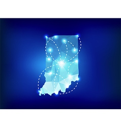 Indiana state map polygonal with spot lights vector