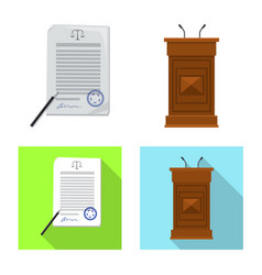 Isolated object of law and lawyer icon set of law vector