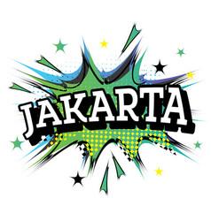 Jakarta comic text in pop art style vector