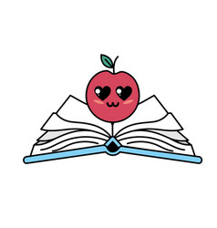 Kawaii cute tender apple over open book vector