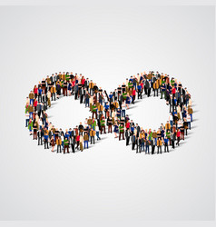 Large group of people in the infinity sign shape vector