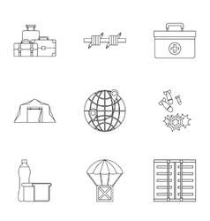 Left country icons set outline style vector image