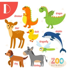 Letter D Cute animals Funny cartoon animals in vector
