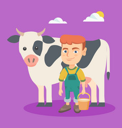 Little caucasian farmer boy milking a cow vector