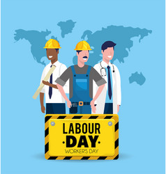 Man builder with mechanic and doctor to labour day vector