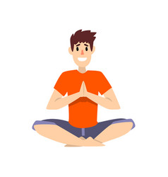 Man sitting in salutation lotus pose young man vector