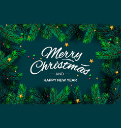 merry christmas and happy new year lettering with vector image