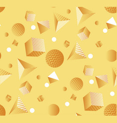 minimal yellow geometric shapes seamless pattern vector image
