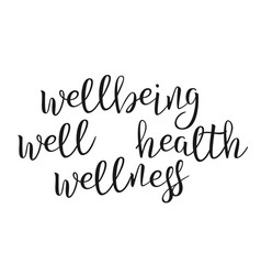 modern calligraphy ink of word wellbeing vector image