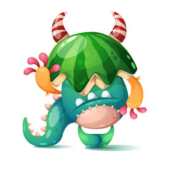 monster with a watermelon on his head vector image