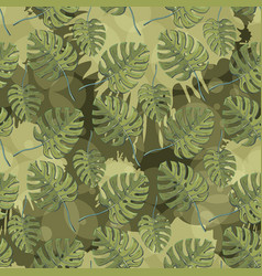 monstera plant leaves seamless pattern with vector image