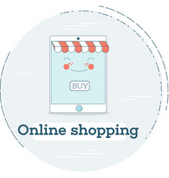 online shopping concept in line art style vector image