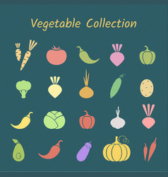 Pastel color silhoette isolated vegetable icon set vector