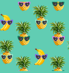 pineapple banana funny glasses seamless pattern vector image