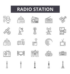 radio station line icons signs set vector image
