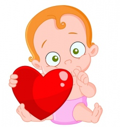 red hair baby girl valentine vector image