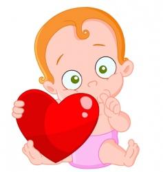 Red hair baby girl valentine vector