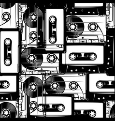 retro cassettes seamless pattern in retro style vector image