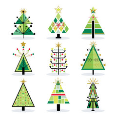 Retro green and trendy isolated pop art christmas vector