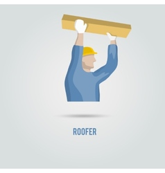 Roofer with wood icon vector