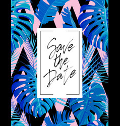 Save the date wedding lettering postcard vector
