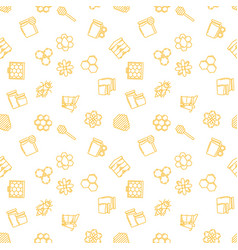 seamless pattern with yellow beekeeping vector image