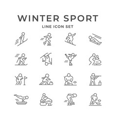 Set line icons winter sport vector