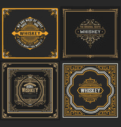Set of 4 old cards western style vector