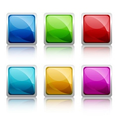 Set of colourful square glass botton vector