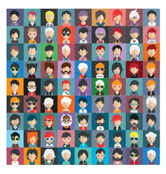 Set people icons in flat style with faces 20 b vector