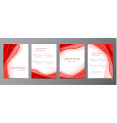 set red wavy abstract covers brochures vector image