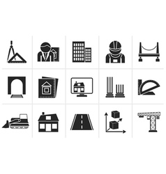 Silhouette architecture and construction icons vector image