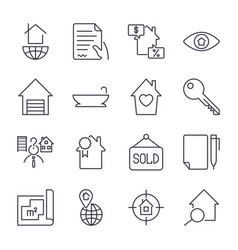 simple set of real estate related line vector image