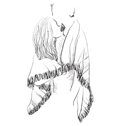 Sketch couple man and woman with vector image