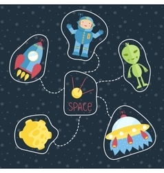 Space Cartoon Style Concept vector