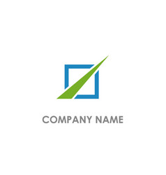 square shape line arrow business logo vector image
