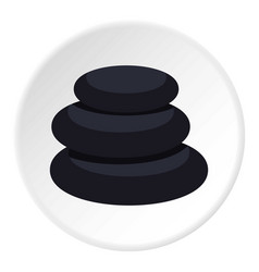 Stack of black basalt balancing stones icon circle vector
